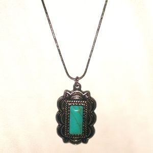 Silver Necklace with rectangular turquoise charm